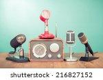 retro old microphones and... | Shutterstock . vector #216827152