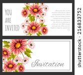 set of invitations with floral...   Shutterstock .eps vector #216833752