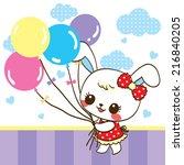cute rabbit  cartoon holding...   Shutterstock .eps vector #216840205