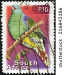 Small photo of SOUTH AFRICA - CIRCA 2000: a stamp printed in South Africa shows African Green Pigeon, Treron Calvus, Bird, circa 2000