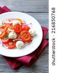 salad with tomatoes and onions  ... | Shutterstock . vector #216850768