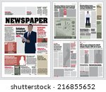 Graphical layout  newspaper template  | Shutterstock vector #216855652
