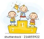 kids and sport   little... | Shutterstock .eps vector #216855922