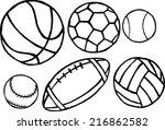 set of different sport balls.... | Shutterstock . vector #216862582