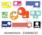 set of cute monsters isolated... | Shutterstock .eps vector #216868222
