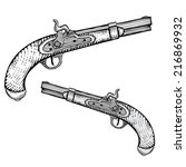 hand drawn flintlock pistol