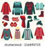 vector woman winter clothes set ... | Shutterstock .eps vector #216890725