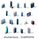 vector isometric city center... | Shutterstock .eps vector #216894556