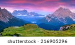 colorful summer sunrise in... | Shutterstock . vector #216905296