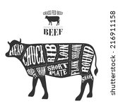 vector beef cuts diagram in... | Shutterstock .eps vector #216911158