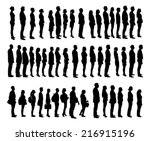 collage of silhouette people... | Shutterstock .eps vector #216915196