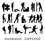 collage of silhouette business... | Shutterstock .eps vector #216915202