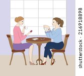 illustration with two women at...   Shutterstock .eps vector #216918898