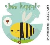 cartoon funny bee happy flat...