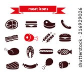meat icons | Shutterstock .eps vector #216929026
