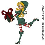 sexy christmas elf holding a... | Shutterstock .eps vector #21692980