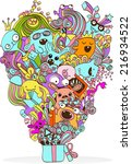 gift with monsters | Shutterstock .eps vector #216934522