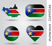 south sudan flag set in map ... | Shutterstock .eps vector #216945166