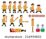 vector collection of pixel art... | Shutterstock .eps vector #216954832