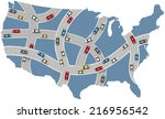 many cars drive usa roads on... | Shutterstock .eps vector #216956542