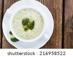 portion of homemade broccoli... | Shutterstock . vector #216958522