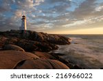 Peggys Cove Lighthouse Sunset ...