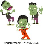halloween zombie cartoon action ... | Shutterstock .eps vector #216968866