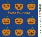 happy halloween pumpkin set... | Shutterstock .eps vector #216978202
