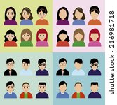 abstract people icons on a... | Shutterstock .eps vector #216981718