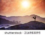 Woman Doing Yoga Natarajasana...