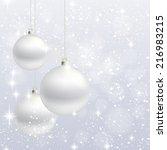 silver christmas balls on the... | Shutterstock .eps vector #216983215