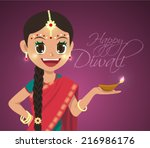 vector indian girl holding... | Shutterstock .eps vector #216986176
