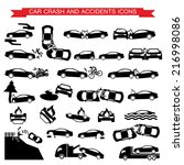 car crash and accidents icons | Shutterstock .eps vector #216998086