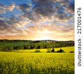 sunset over spring landscape... | Shutterstock . vector #217001476