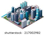 vector isometric city center... | Shutterstock .eps vector #217002982