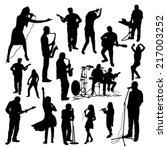 music silhouettes set | Shutterstock .eps vector #217003252
