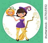 halloween witch girl with funny ...   Shutterstock .eps vector #217015552