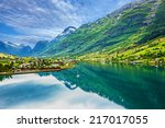 Mountain landscape, Olden, Norway - stock photo