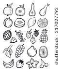 fruit set black and white | Shutterstock .eps vector #217027792