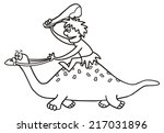 dinosaur  coloring book | Shutterstock .eps vector #217031896