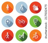 disability flat icons set | Shutterstock .eps vector #217032475