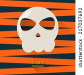 halloween skull with long...   Shutterstock .eps vector #217037692