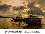 fishing sea boat and sunrise... | Shutterstock . vector #217042282