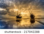 fishing sea boat and sunrise... | Shutterstock . vector #217042288