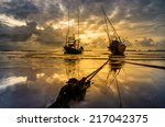 fishing sea boat and sunrise... | Shutterstock . vector #217042375