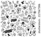 halloween creatures doodle...   Shutterstock .eps vector #217067386