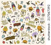 halloween colorful creatures...   Shutterstock .eps vector #217067392