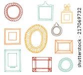 set of hand drawn vector frames.... | Shutterstock .eps vector #217069732