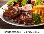 tasty grilled ribs with... | Shutterstock . vector #217073512
