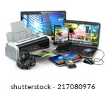 computer devices. mobile phone  ... | Shutterstock . vector #217080976